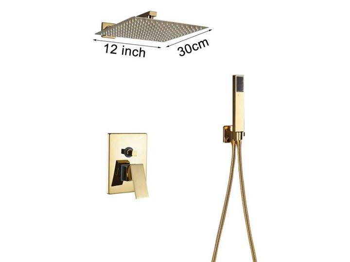 Złoty zestaw prysznicowy podtynkowy wannowy 30x30cm Wyposażenie Z słuchawką Wyposażenie Z baterią