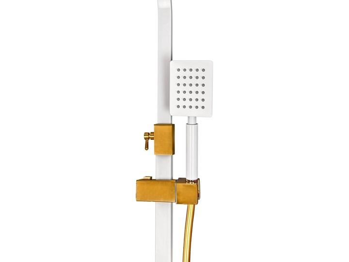 Biało Złoty zestaw prysznicowy z termostatem Wyposażenie Z deszczownicą