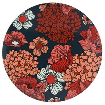 Podkładka okrągła w kwiaty DUKA VALLMO 38 cm pomarańczowa granatowa drewno