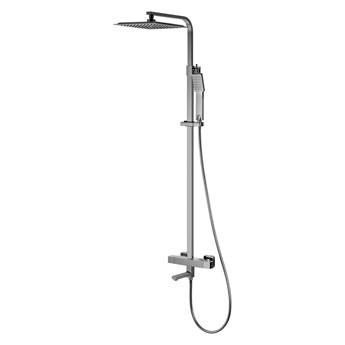 Kolumna prysznicowa Corsan Ango CMN020 / CMN021 z wylewką i termostatem, chrom / czarna, Chrom / Tak / Termostat
