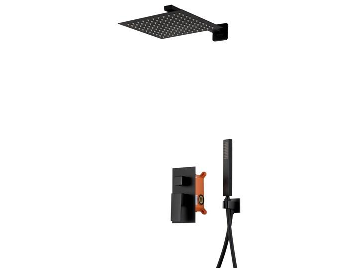 Prysznicowy zestaw podtynkowy Corsan Z01 czarny / chrom  z termostatem lub mieszaczem, Czarny / Termostat Wyposażenie Z deszczownicą