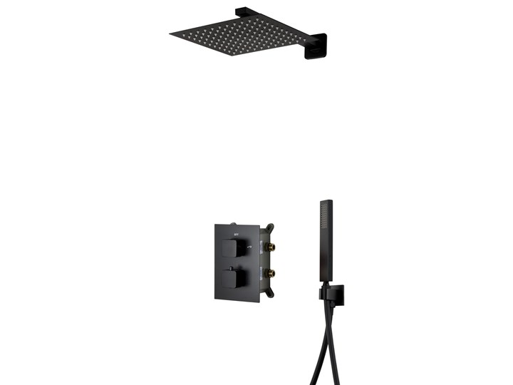 Prysznicowy zestaw podtynkowy Corsan Z01 czarny / chrom  z termostatem lub mieszaczem, Czarny / Termostat Wyposażenie Z baterią Wyposażenie Z wężem