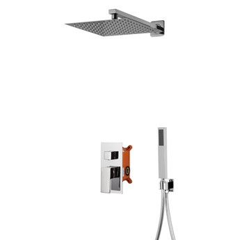 Prysznicowy zestaw podtynkowy Corsan Z01 czarny / chrom  z termostatem lub mieszaczem, Chrom / Mieszacz