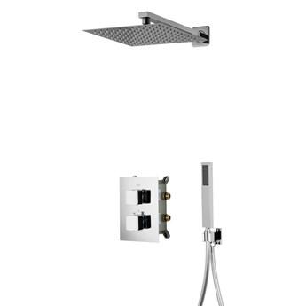 Prysznicowy zestaw podtynkowy Corsan Z01 czarny / chrom  z termostatem lub mieszaczem, Chrom / Termostat