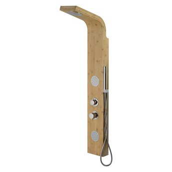 Panel prysznicowy Corsan Bali B231 bambus czarny / chrom, termostat / mieszacz, Chrom / Mieszacz