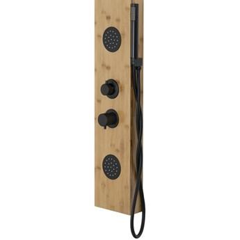 Panel prysznicowy Corsan Bali B231 bambus czarny / chrom, termostat / mieszacz, Czarny / Mieszacz