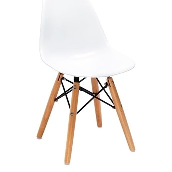 Krzesło dziecięce JUNIOR DSW PREMIUM białe - polipropylen, nogi bukowe