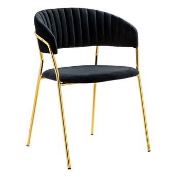 Krzesło MARGO czarne - welur, podstawa złota