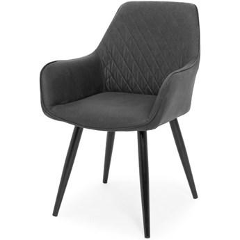 Nowoczesne krzesło tapicerowane fotel EMMA - ciemny szary