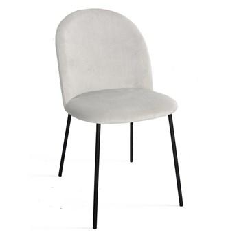 Krzesło MUSSI jasno szary aksamit / noga czarna