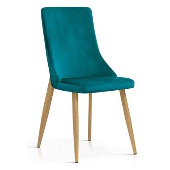 Krzesło Elza turkus aksamit / dąb