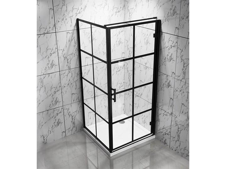 czarna kabina ścianka prysznicowa kratka 90x90cm Wysokość 190 cm Narożna Szerokość 90 cm Brodzik Bez brodzika