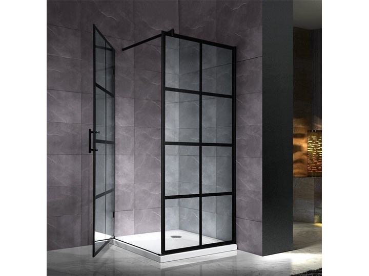 czarna kabina ścianka prysznicowa kratka 100x1000cm Wysokość 190 cm Brodzik Bez brodzika Narożna Kolor Czarny