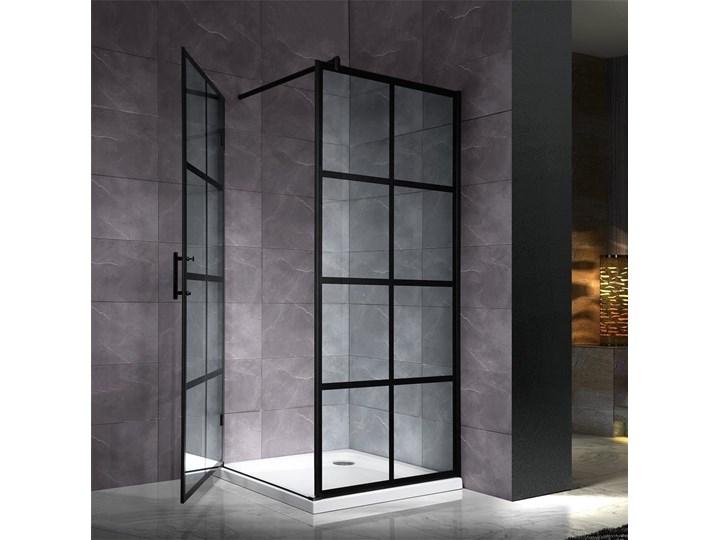 czarna kabina ścianka prysznicowa kratka 100x1000cm