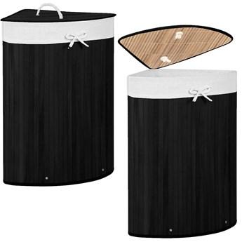 Kosz na pranie 73L narożny pojemnik z klapą bambus naturalny czarny