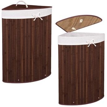 Kosz na pranie 73L narożny pojemnik z klapą bambus naturalny ciemny brąz