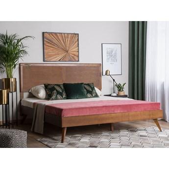 Łóżko ze stelażem ciemne drewno 160 x 200 cm wysokie wezgłowie rustykalny design