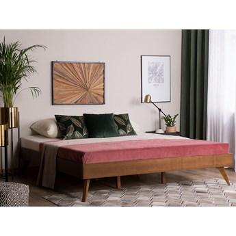 Łóżko ze stelażem ciemne drewno 160 x 200 cm rama bez wezgłowia rustykalny design