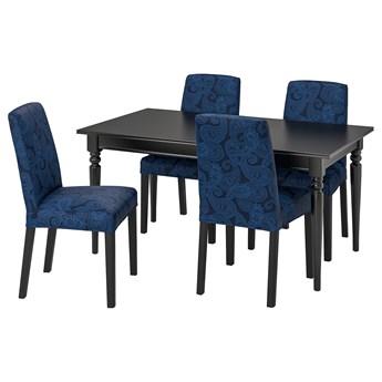 IKEA INGATORP / BERGMUND Stół i 4 krzesła, czarny/Kvillsfors ciemnoniebieski/niebieski, 155/215 cm