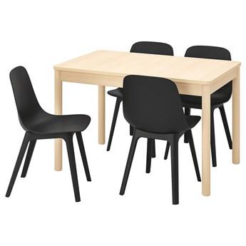 IKEA RÖNNINGE / ODGER Stół i 4 krzesła, brzoza/antracyt, 118/173 cm