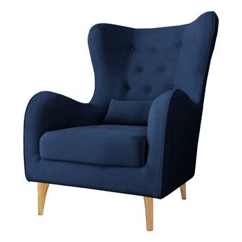 SELSEY Fotel uszak Calmino Duży niebieski velvet