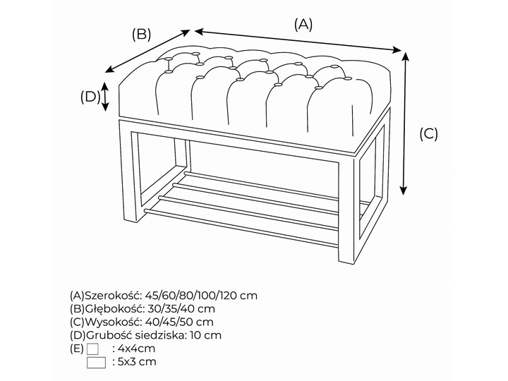 Ławka Pikowana do przedpokoju Industrialna DOUBLE SHELF Styl Industrialny Materiał obicia Tkanina