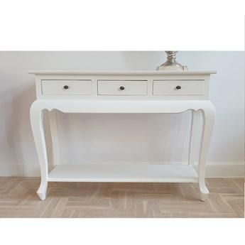 Stylowa biała konsola CLASSIC z szufladkami do salonu
