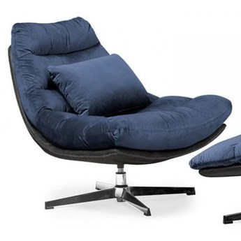Fotel obrotowy MUTTO z podnóżkiem/ granatowy velvet