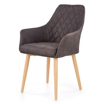 SELSEY Krzesło tapicerowane Moita ecoskóra ciemny brąz