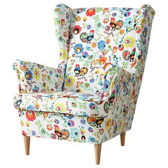 IKEA STRANDMON Fotel uszak, Husliå wielobarwny, Głębokość: 96 cm