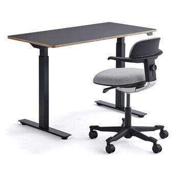 Zestaw mebli NOVUS + NEWBURY, 1 biurko + 1 czarno-szare krzesło
