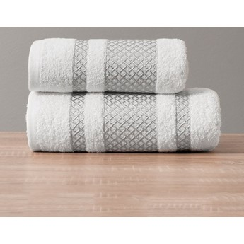 Ręcznik LIONEL 102 biały ze srebrną bordiurą 70x140