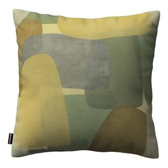 Poszewka Kinga na poduszkę, geometryczne wzory w zielono-brązowej kolorystyce, 43 × 43 cm, Vintage 70's