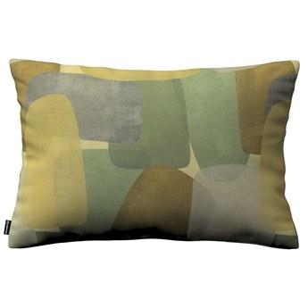 Poszewka Kinga na poduszkę prostokątną, geometryczne wzory w zielono-brązowej kolorystyce, 60 × 40 cm, Vintage 70's