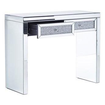 Konsola lustrzana srebrna szklana 2 szuflady glamour stolik przechowywanie do salonu do sypialni