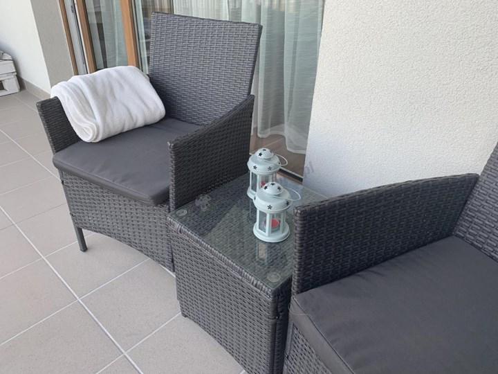 Meblobranie Komplet technorattanowy na balkon Flavio Duo Antracite Zawartość zestawu Fotele Stoły z krzesłami Kolor Brązowy
