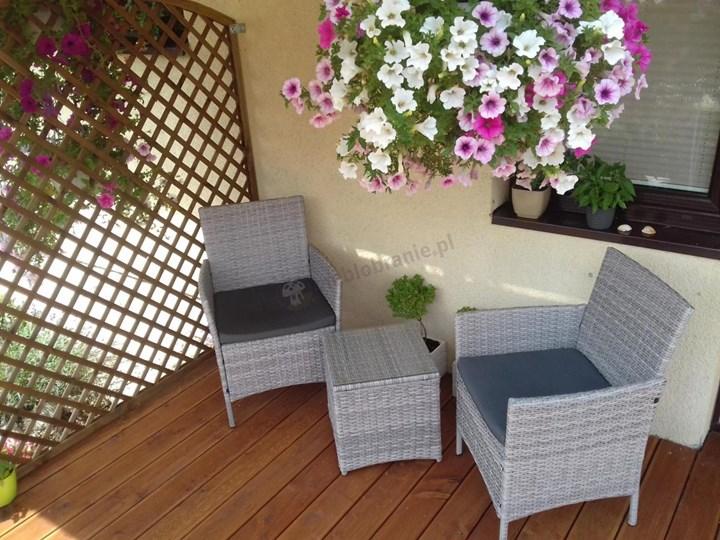 Meblobranie Janoszare meble balkonowe z technorattanu Flavio Duo Grey Stoły z krzesłami Zawartość zestawu Fotele