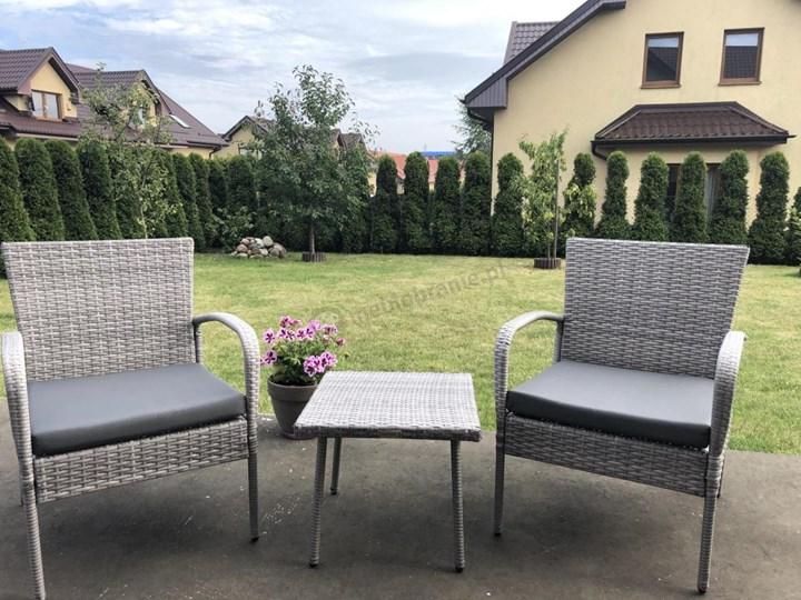 Meblobranie Komplet mebli na wąski balkon Morrone Duo Grey Zestawy kawowe Stoły z krzesłami Technorattan Zawartość zestawu Fotele