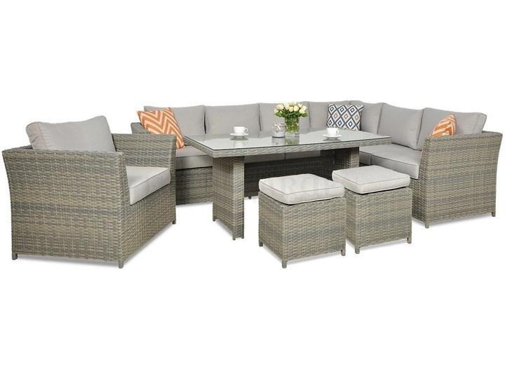 Duży technorattanowy narożnik ogrodowy Meblobranie z fotelem i pufami Moniz Dining Plus Zestawy obiadowe Zestawy wypoczynkowe Zestawy modułowe Zawartość zestawu Sofa Aluminium Kategoria Zestawy mebli ogrodowych