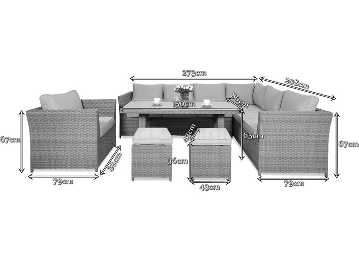 Duży technorattanowy narożnik ogrodowy Meblobranie z fotelem i pufami Moniz Dining Plus Zestawy obiadowe Zestawy modułowe Zestawy wypoczynkowe Kolor Szary Aluminium Kategoria Zestawy mebli ogrodowych
