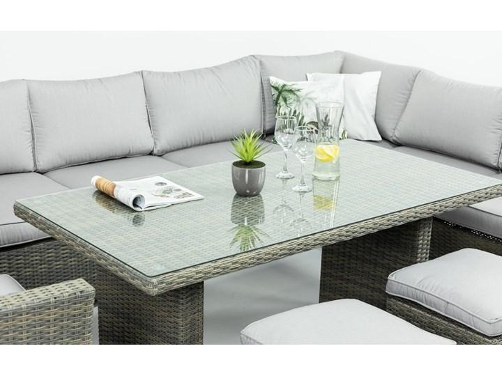 Duży technorattanowy narożnik ogrodowy Meblobranie z fotelem i pufami Moniz Dining Plus Zestawy modułowe Aluminium Zestawy wypoczynkowe Zestawy obiadowe Liczba miejsc Dziewięcioosobowy