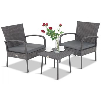 Meblobranie Dwa fotele i stolik na balkon Morrone Duo Anthracite