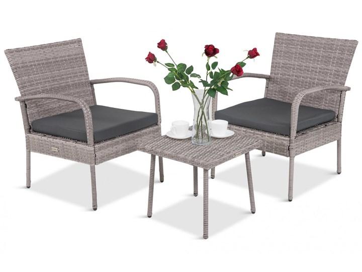 Meblobranie Komplet mebli na wąski balkon Morrone Duo Grey Technorattan Zestawy kawowe Stoły z krzesłami Kategoria Zestawy mebli ogrodowych Kolor Brązowy