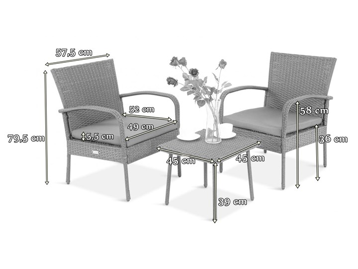 Meblobranie Komplet mebli na wąski balkon Morrone Duo Grey Stoły z krzesłami Zestawy kawowe Kolor Brązowy Technorattan Zawartość zestawu Fotele