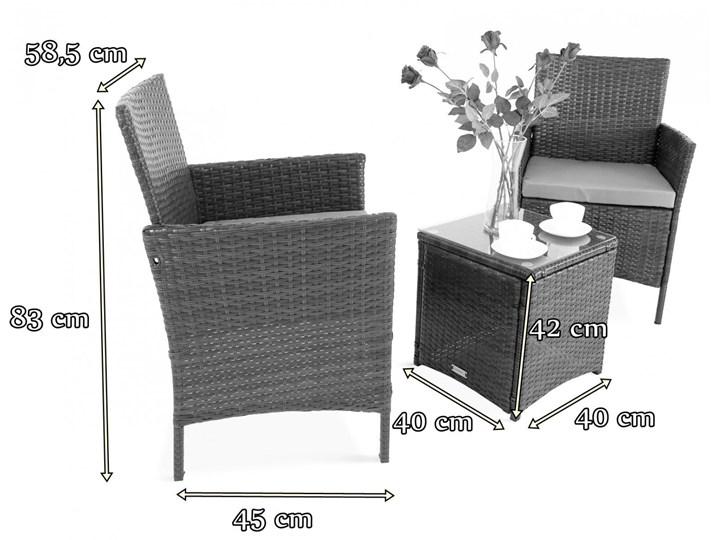 Meblobranie Janoszare meble balkonowe z technorattanu Flavio Duo Grey Stoły z krzesłami Styl Nowoczesny Zawartość zestawu Stolik