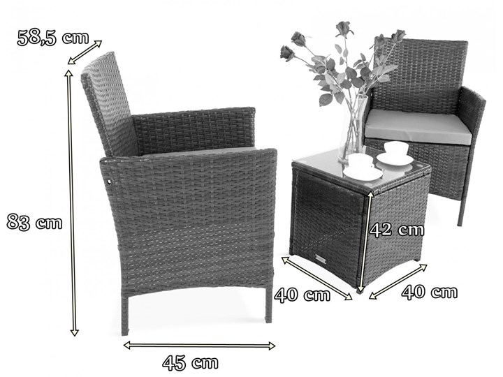 Meblobranie Komplet technorattanowy na balkon Flavio Duo Antracite Stoły z krzesłami Zawartość zestawu Stolik