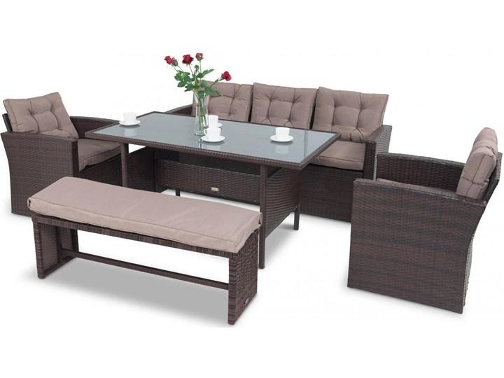 Meblobranie Komplet brązowych mebli technorattanowych Topiano Medio Zawartość zestawu Fotele Zestawy obiadowe Zestawy wypoczynkowe Zawartość zestawu Stół