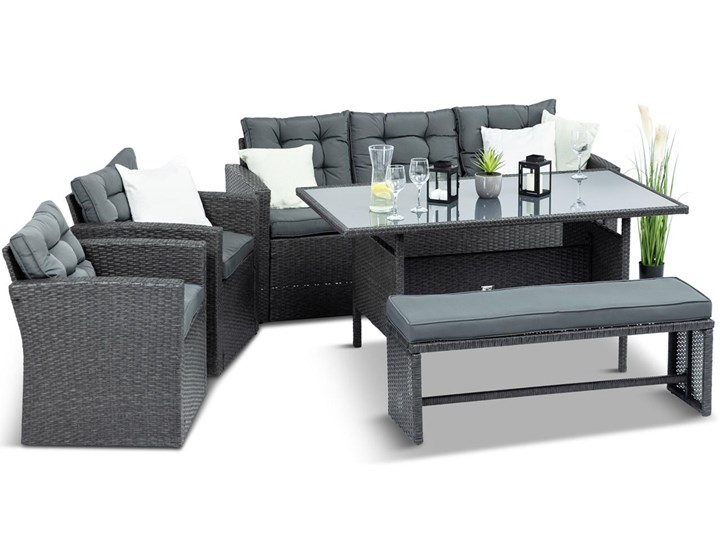 Meblobranie Ciemnoszare meble do ogrodu z technorattanu Topiano Medio Antracite Kategoria Zestawy mebli ogrodowych Zestawy wypoczynkowe Zestawy obiadowe Zawartość zestawu Sofa