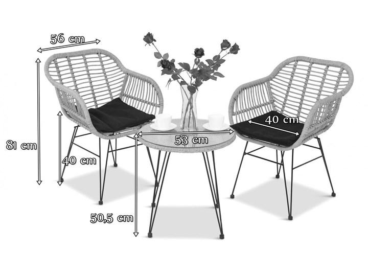 Meblobranie Nowoczesne meble balkonowe z technorattanu Torgiano Balcony Grey Stoły z krzesłami Zawartość zestawu Fotele