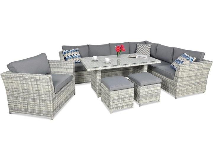 Szary narożnik obiadowy do ogrodu Meblobranie Moniz Dining Plus White Grey Technorattan Aluminium Zestawy obiadowe Zestawy wypoczynkowe Zawartość zestawu Fotele
